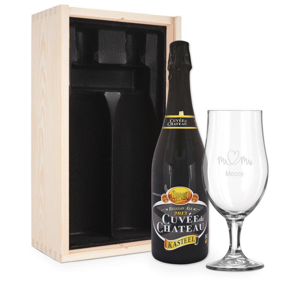 Zestaw upominkowy do piwa z wygrawerowanym szkłem - Cuveé du Chateau