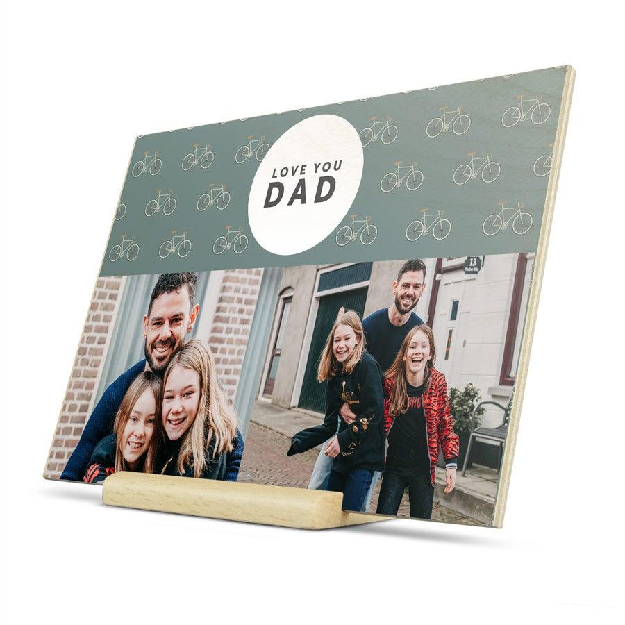 Cartão de dia dos pais de madeira - Horizontal