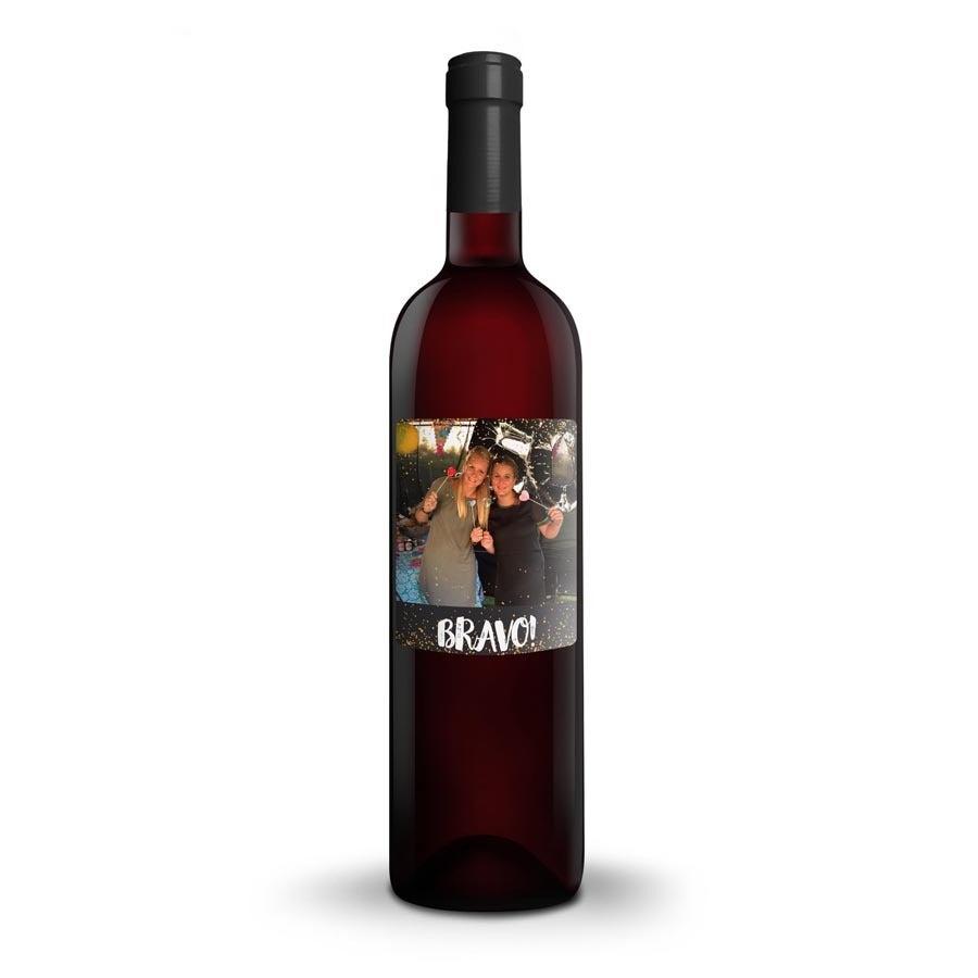 Bouteille de vin Cantine Riondo Merlot avec étiquette personnalisée