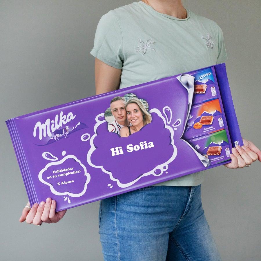 Barra gigante de chocolate Milka con nombre