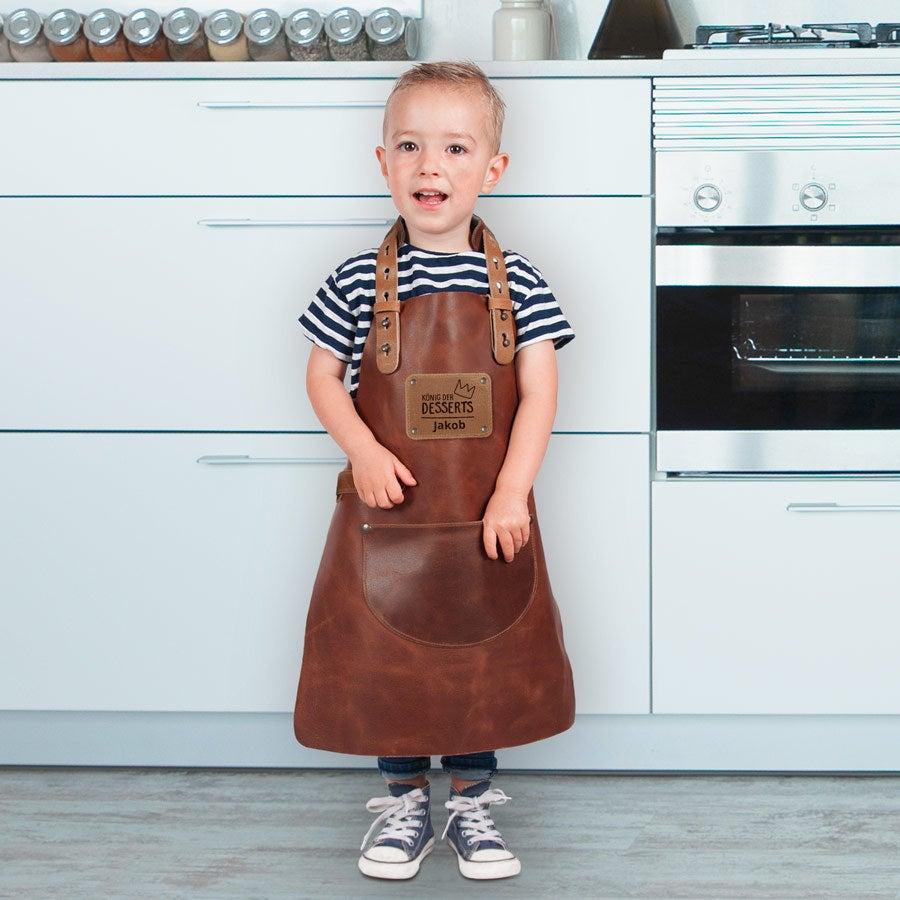 Kinderschürze mit Namen - Leder - Braun - Mini