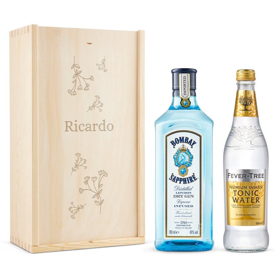 Conjunto de gin e tónica - Bombay Sapphire - Caixa gravada
