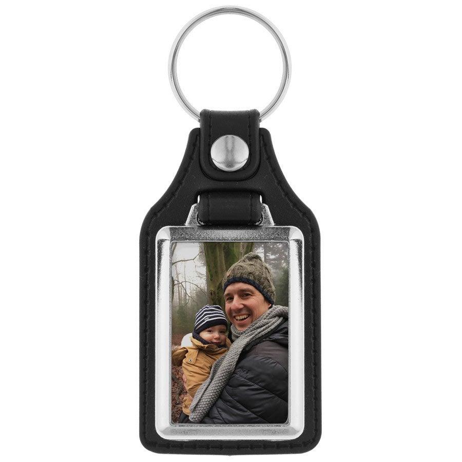 Schlüsselanhänger mit Foto - Leder Rechteck