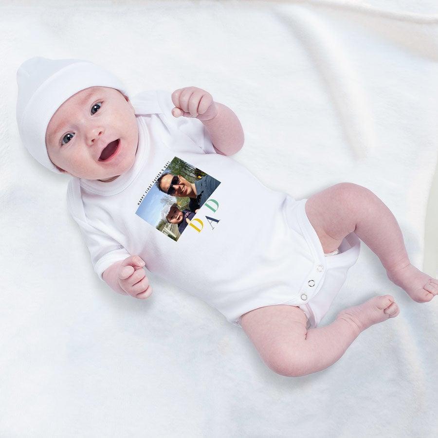 Ensimmäinen isänpäivä - vauvan body - Valkoinen-62/68