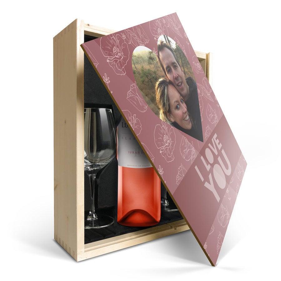 Vin gåva uppsättning med glas - Luc Pirlet Syrah - Tryckt lock