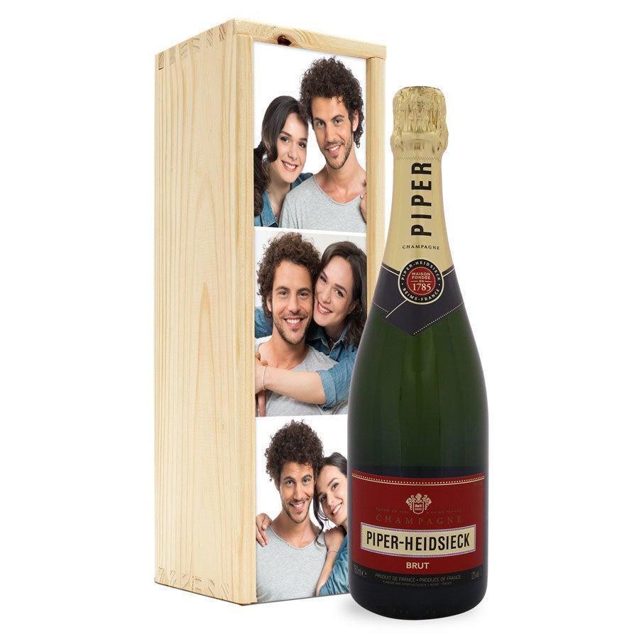 Champagner in bedruckter Holzkiste - Piper Heidsieck Brut (750ml)