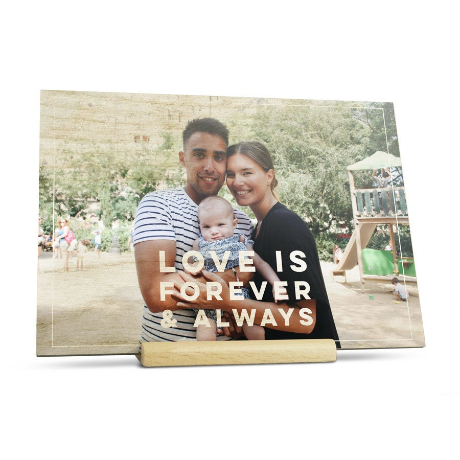 Cartão de dia dos namorados de madeira personalizado - paisagem