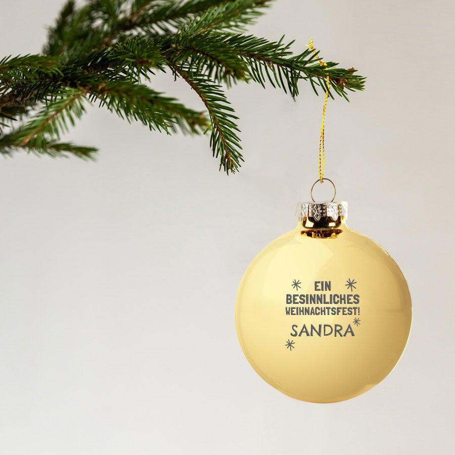 Weihnachtskugel mit Namen - Glas - Gold (2 Stück)