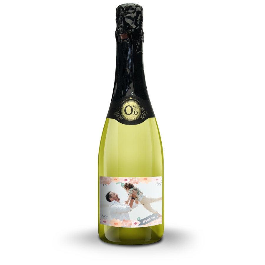 Bouteille de vin blanc sans alcool Vintense avec étiquette personnalisée