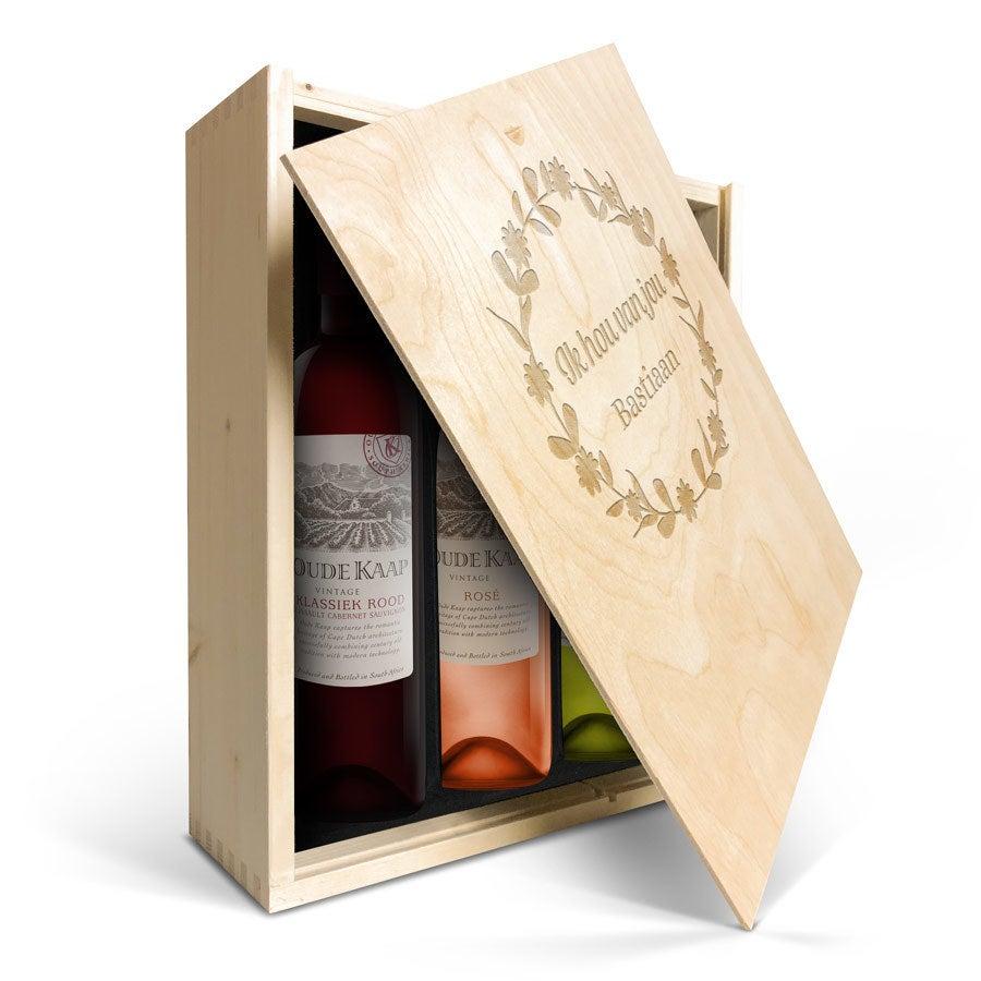 Wijnpakket in gegraveerde kist - Oude Kaap - Wit, rood en rosé