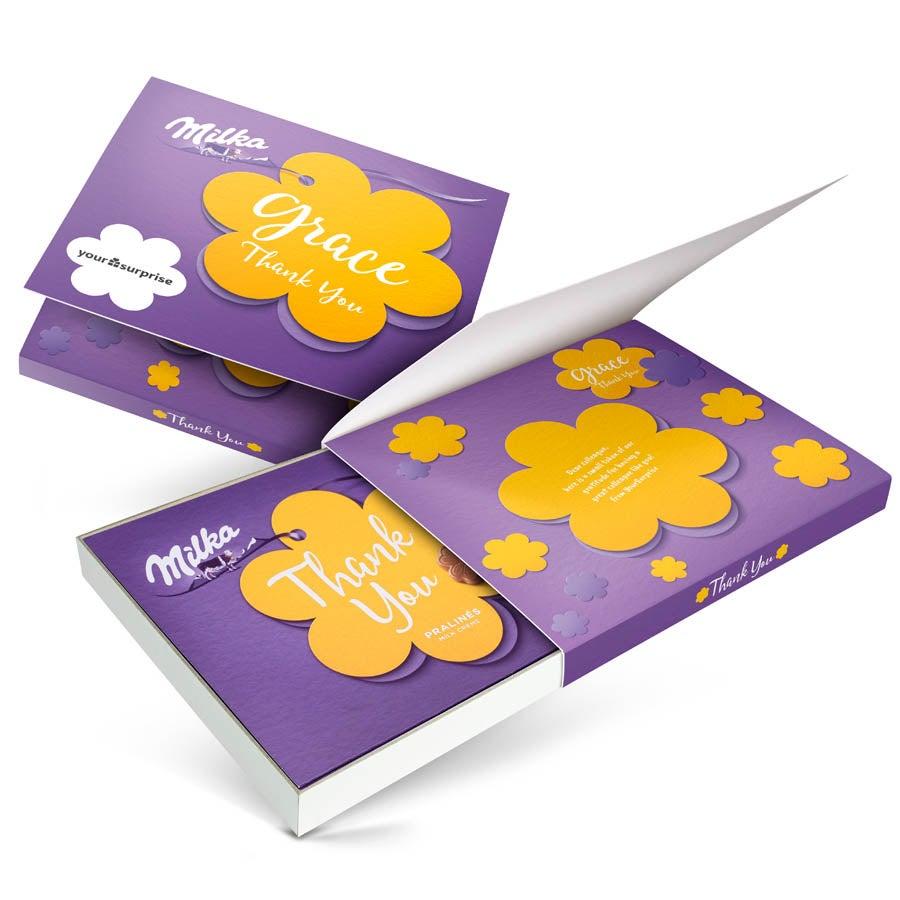 """Caixa de chocolates """"Diga com Milka"""" - Agradeça - 110 gr"""