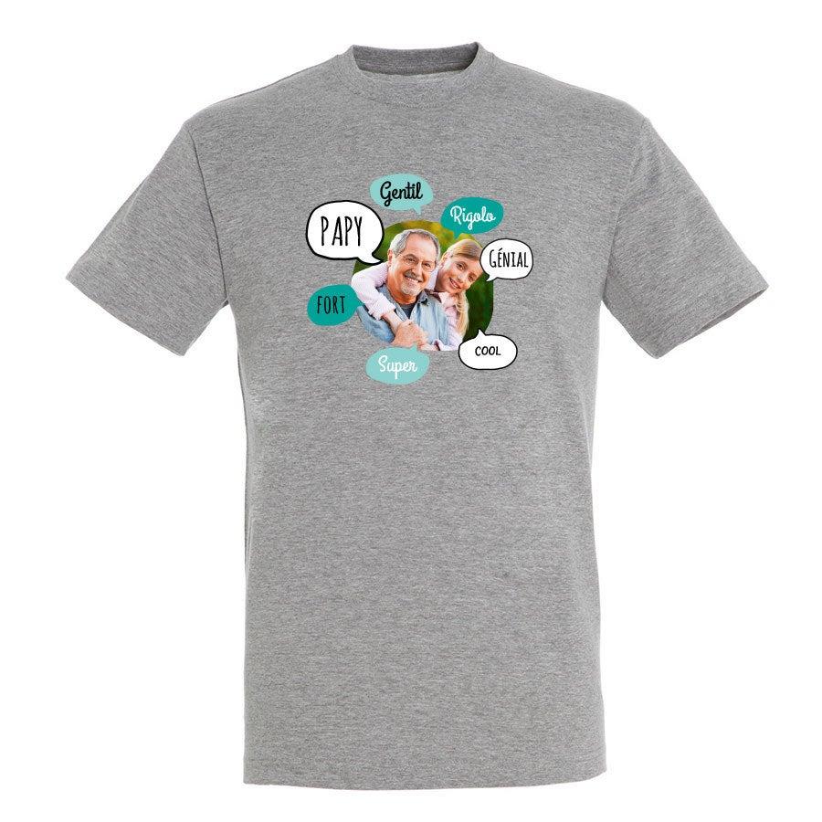 T-shirt papi - Homme - Gris - S