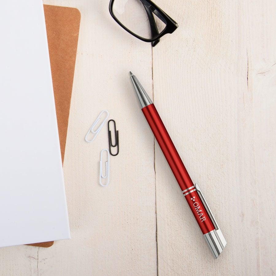 Viva-kynät - Tess - kaiverrettu kuulakärkikynä - Punainen (oikeakätinen)