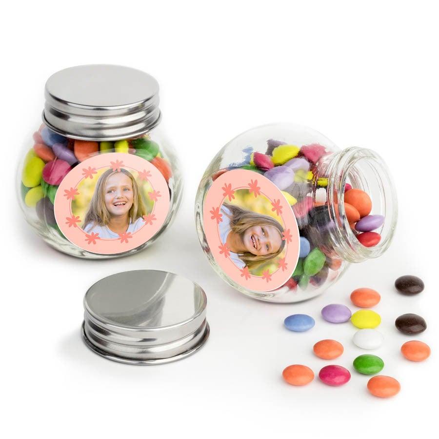 Chocosnoepjes in bedrukt glazen potje - 100 stuks
