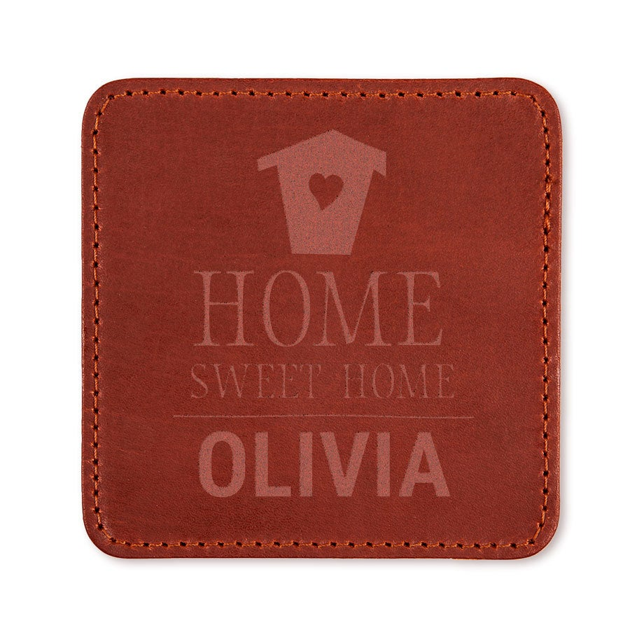 Personalised leather coasters - brown - 2 pieces