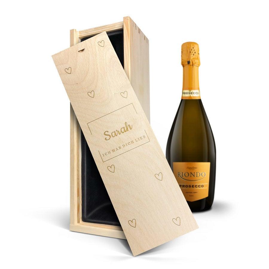 Individuellleckereien - Wein in Kiste mit Gravur Riondo Prosecco Spumante - Onlineshop YourSurprise