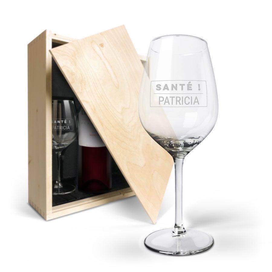 Coffret vin rouge avec 2 verres - Luc Pirlet Merlot - 2 verres gravés