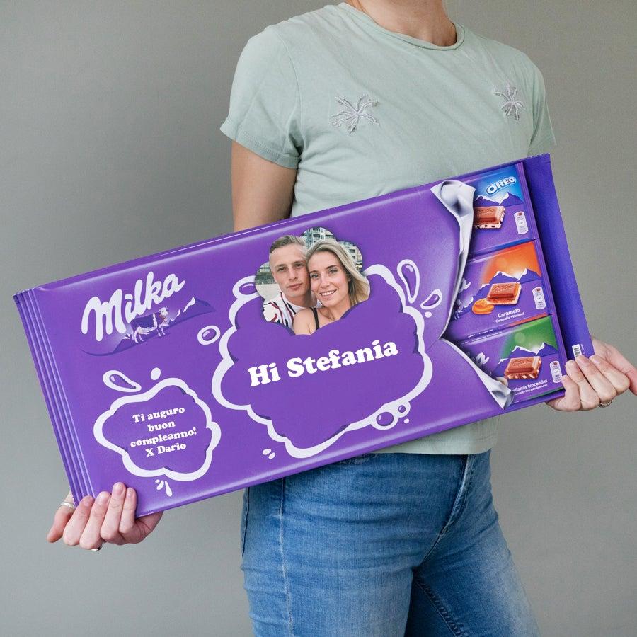 Giant Milka-sjokolade med navn