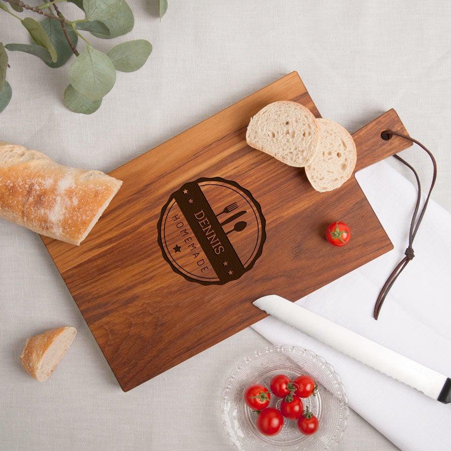 Houten broodplank graveren - Teak - Rechthoek - Staand (M)