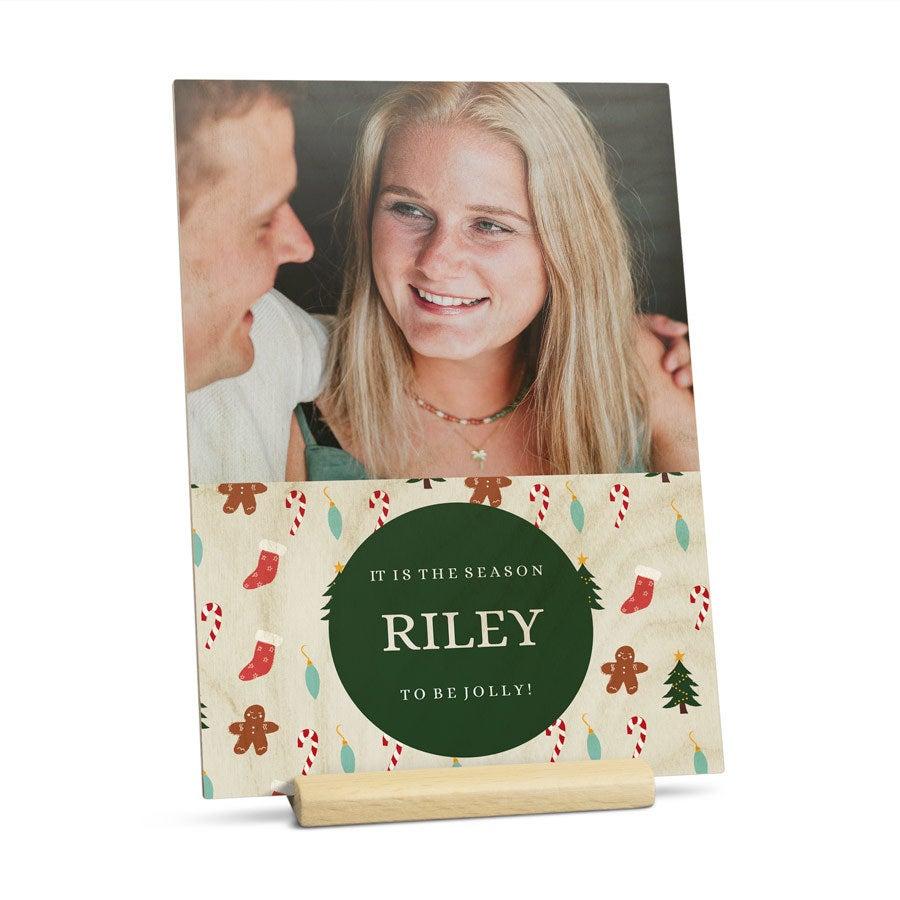 Puinen joulukortti kuvalla - pysty