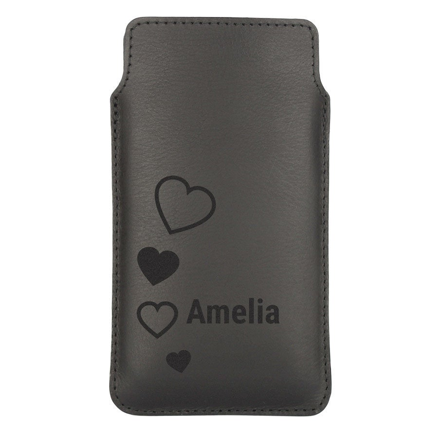Leather phone case - M - Black
