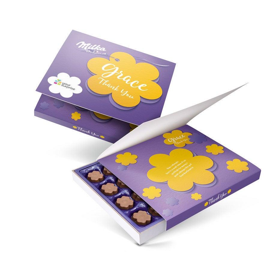 """Caixa de chocolates """"Diga com Milka"""" - Obrigado - 110 gramas"""