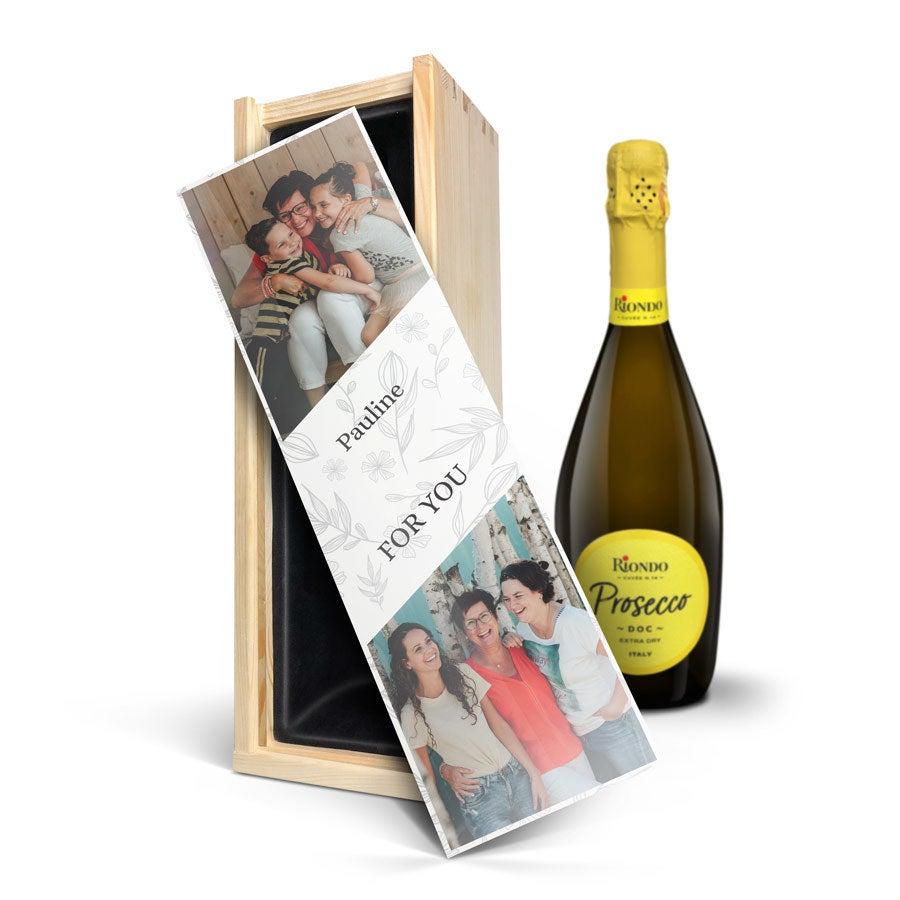 Champagne-pakke med briller - Riondo Prosecco Spumante - Trykt låg