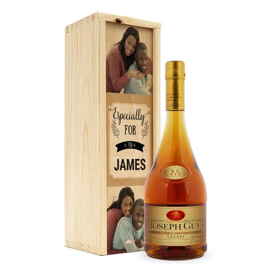 Joseph Guy brandy - Låda med tryck