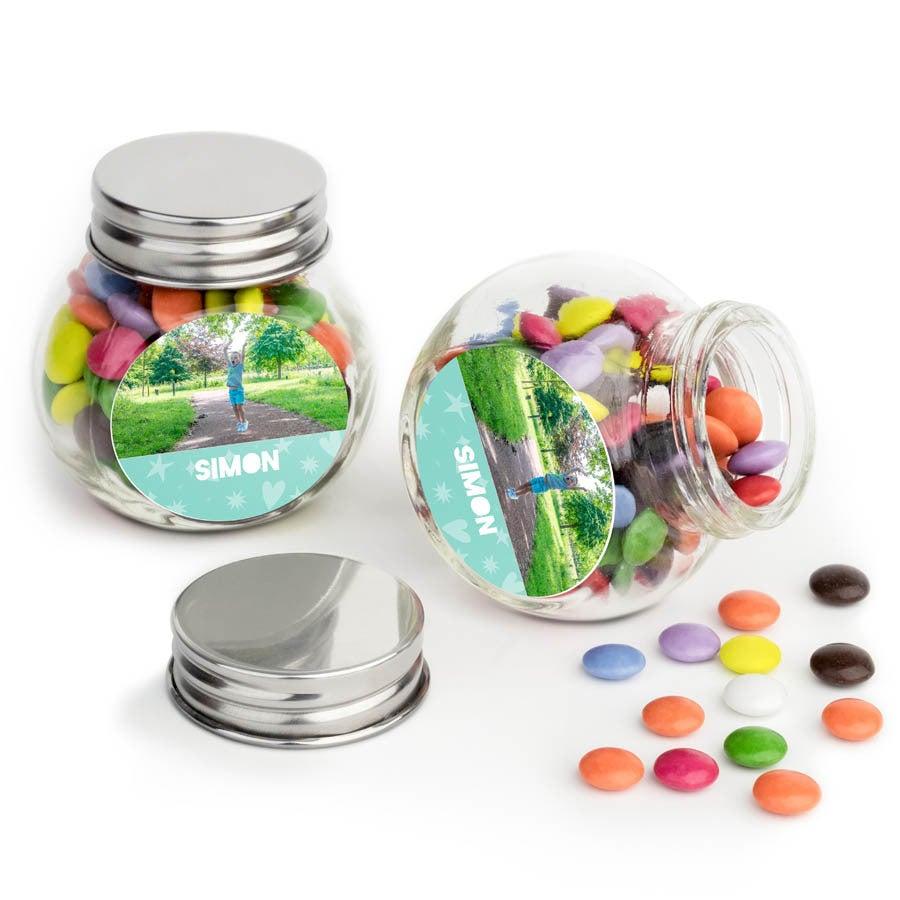Chocosnoepjes in bedrukt glazen potje - 80 stuks