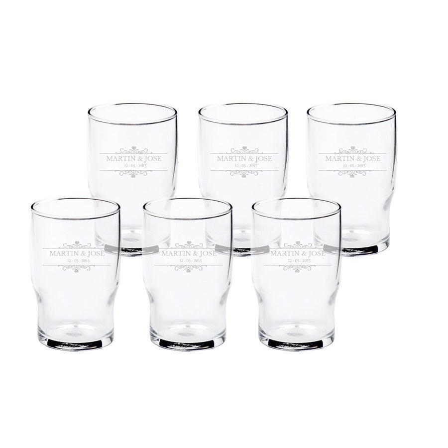 Vesilasi kaiverruksella (6 lasia)