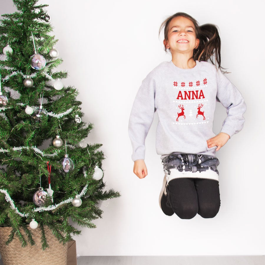 Pull de Noël enfant - Gris - 10 ans