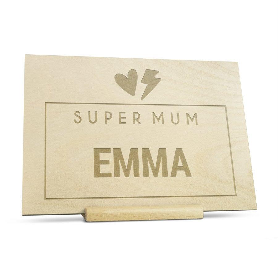 Biglietto in legno per Festa della Mamma - Inciso - Orizzontale