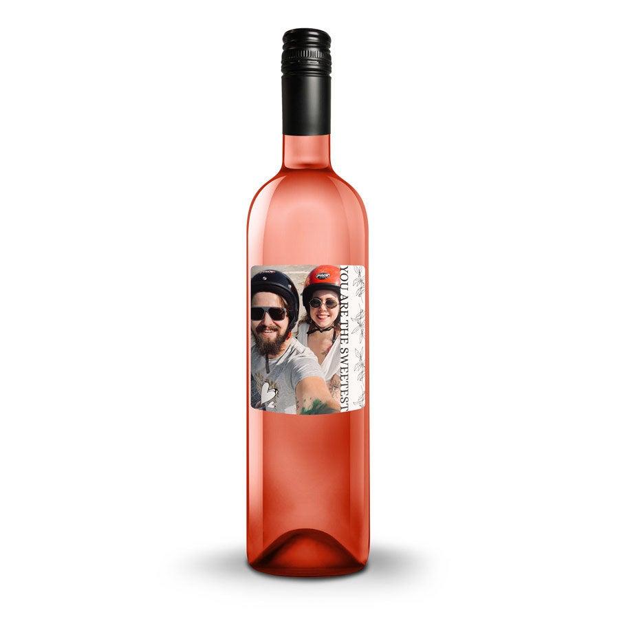 Vin med trykt etiket - Belvy - rosé
