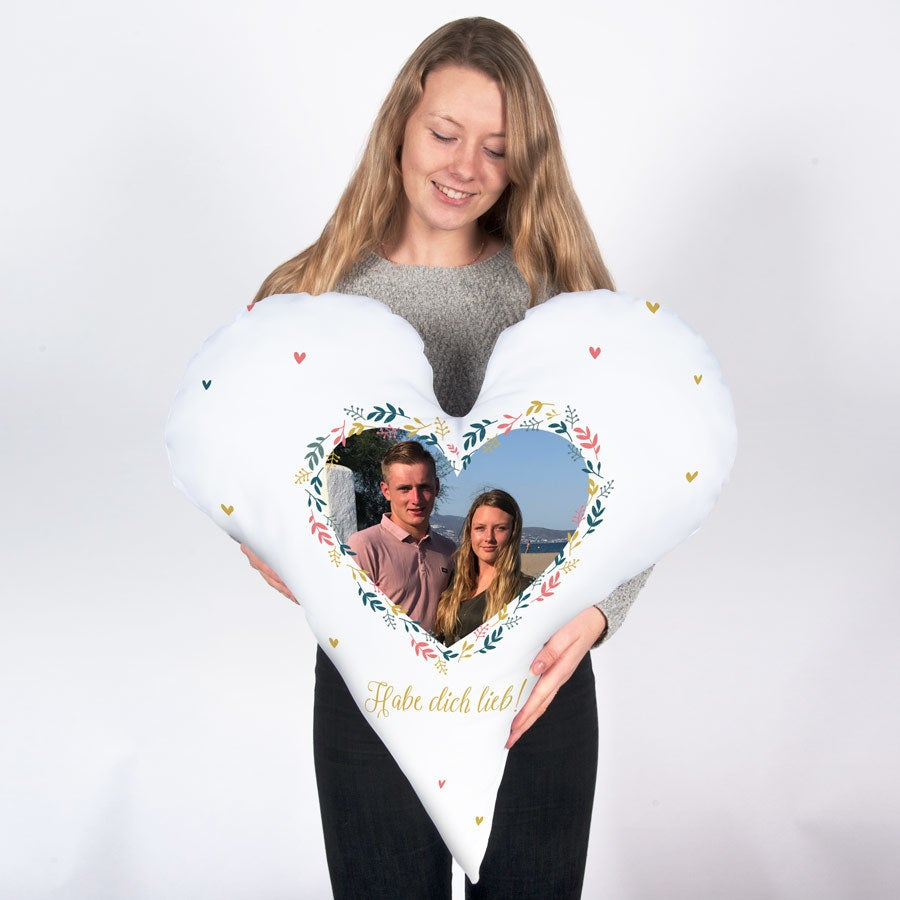 Individuellwohnzubehör - Herzkissen beidseitig bedruckt 80 x 80 cm Baumwolle - Onlineshop YourSurprise