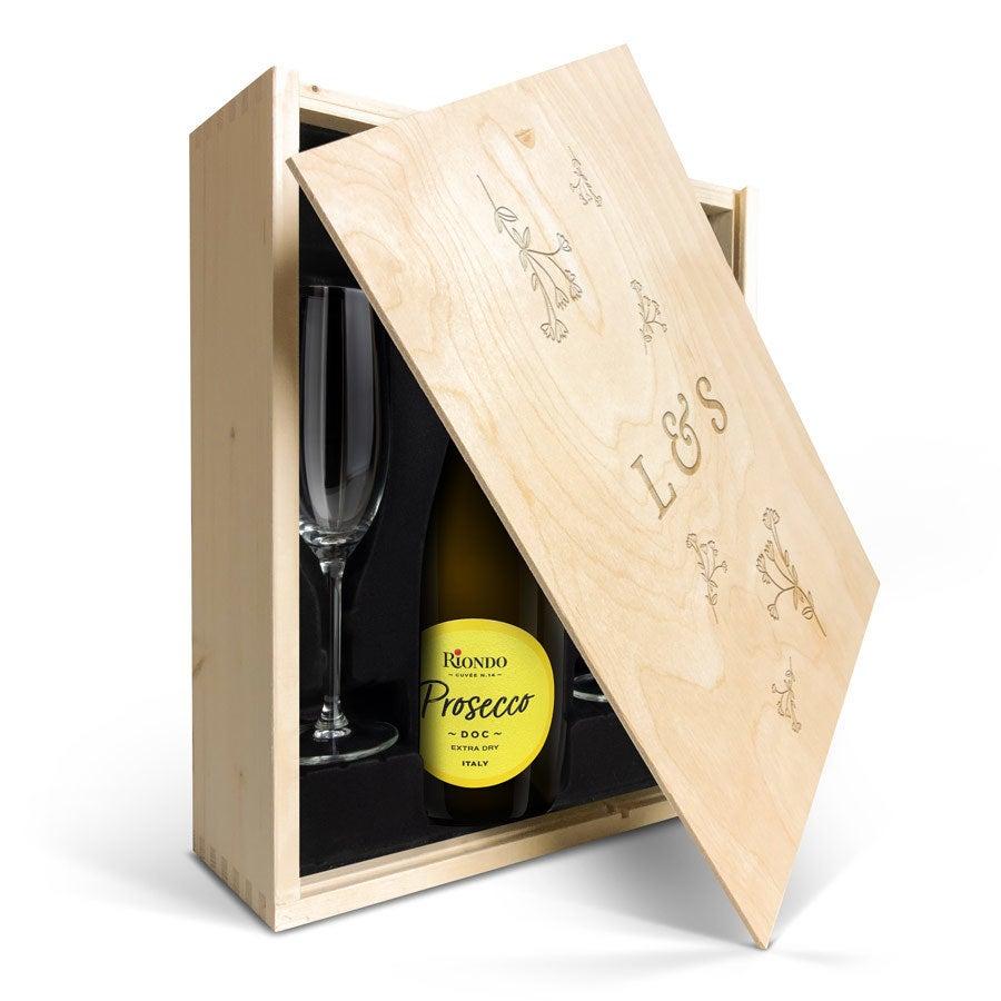 Champagnepakket met glazen - Riondo Prosecco Spumante - Gegraveerde deksel