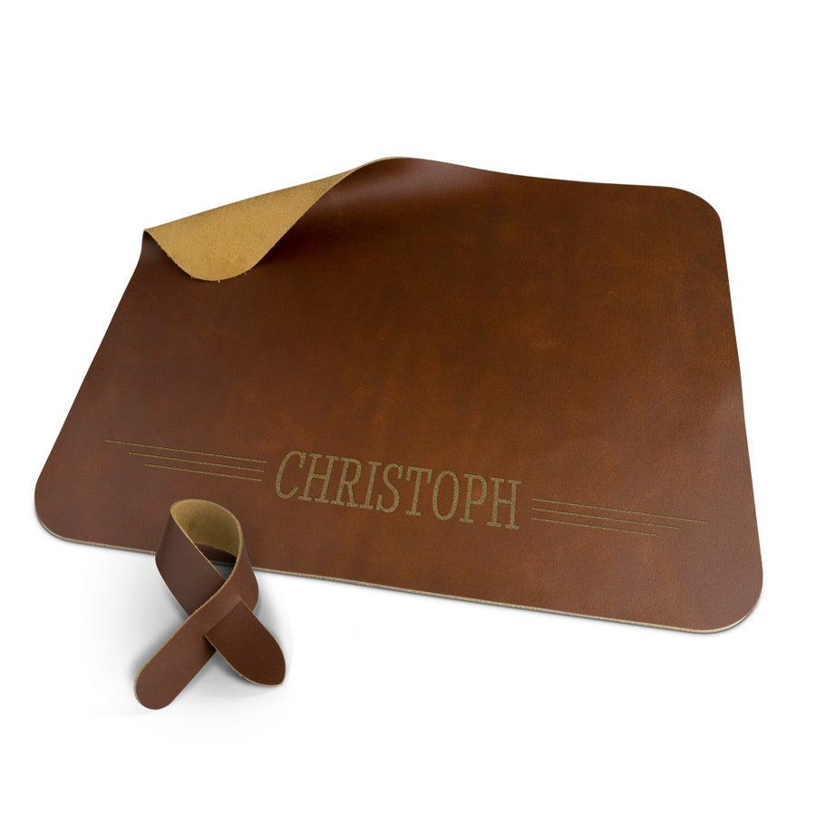 Leather placemat - Brown - with fastening