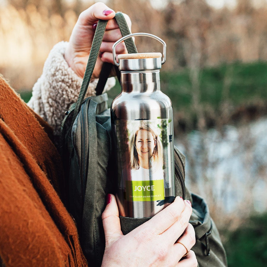 Botella de agua personalizada - Aluminio - Bambú
