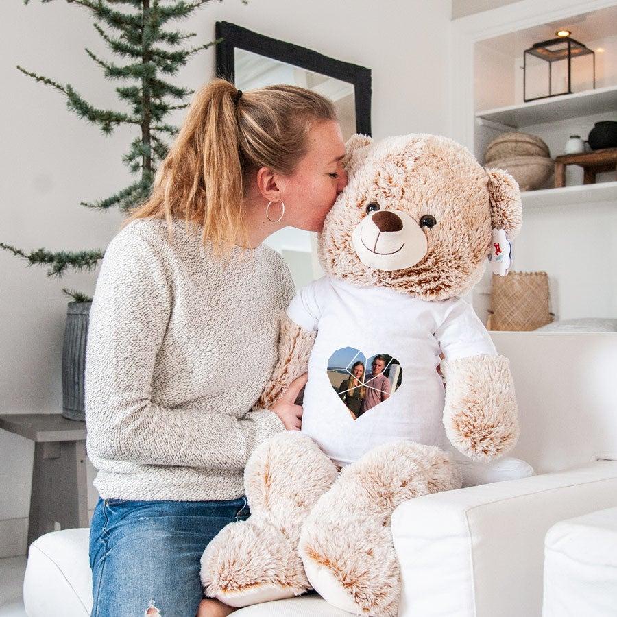 Mega urso de peluche - castanho - impresso