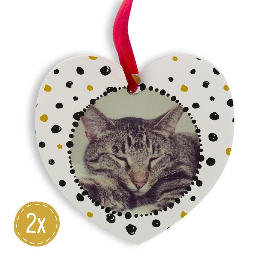 Hliníkový vianočný záves - Srdce (2)