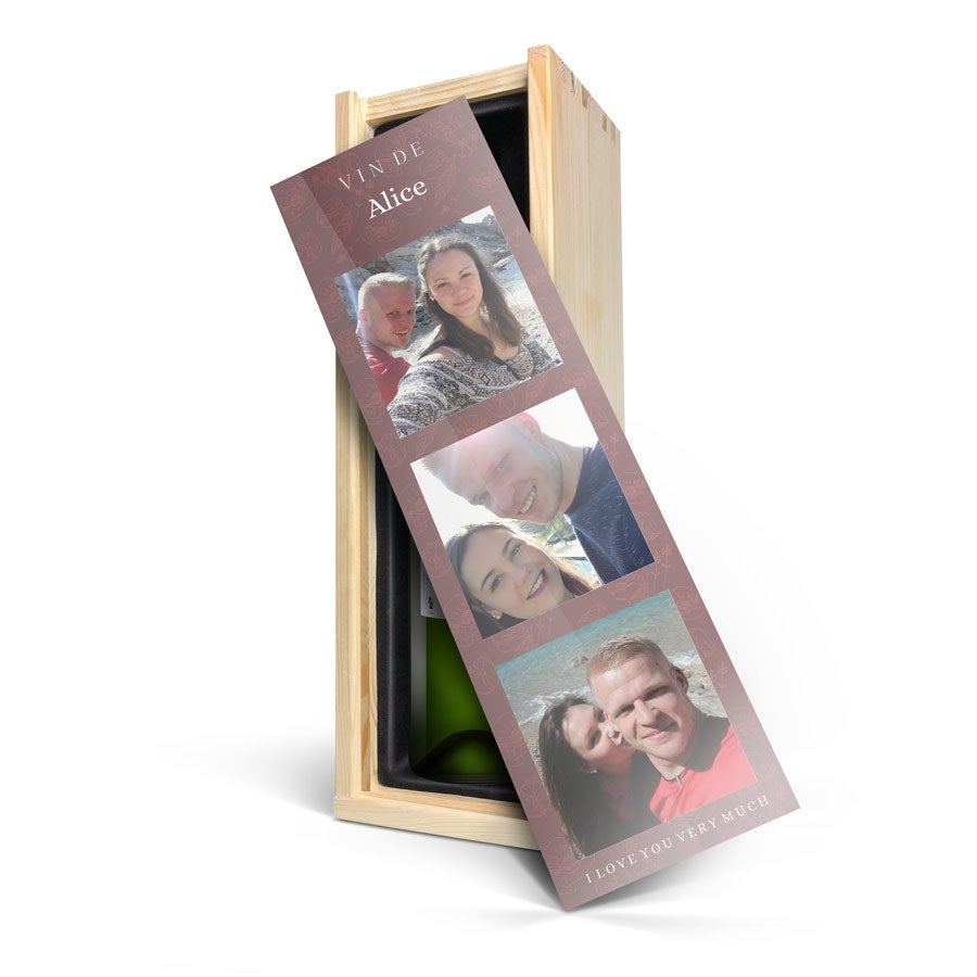 Vin i graverad låda - Belvy - Vitt