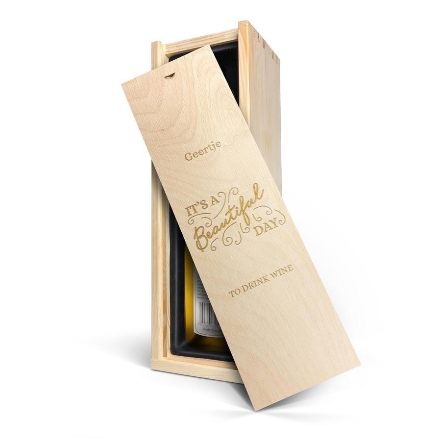 Wijn in gegraveerde kist - Mainzer Domherr Spätlese Peter Meyer
