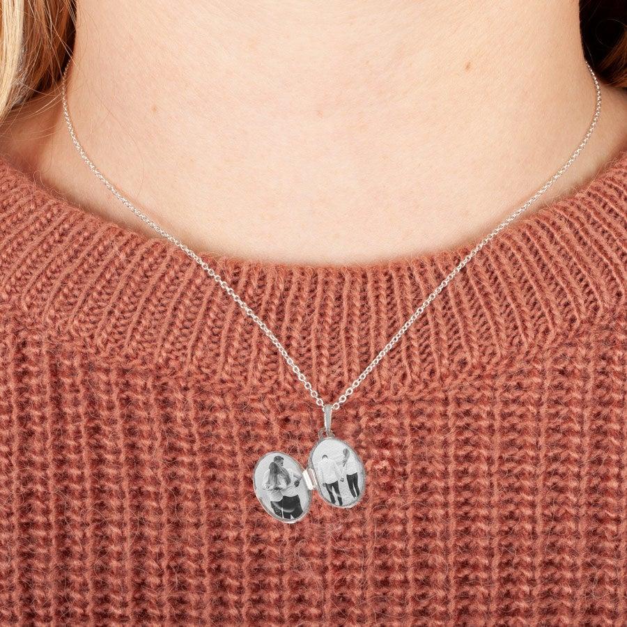 Medaglione con foto in argento - Ovale