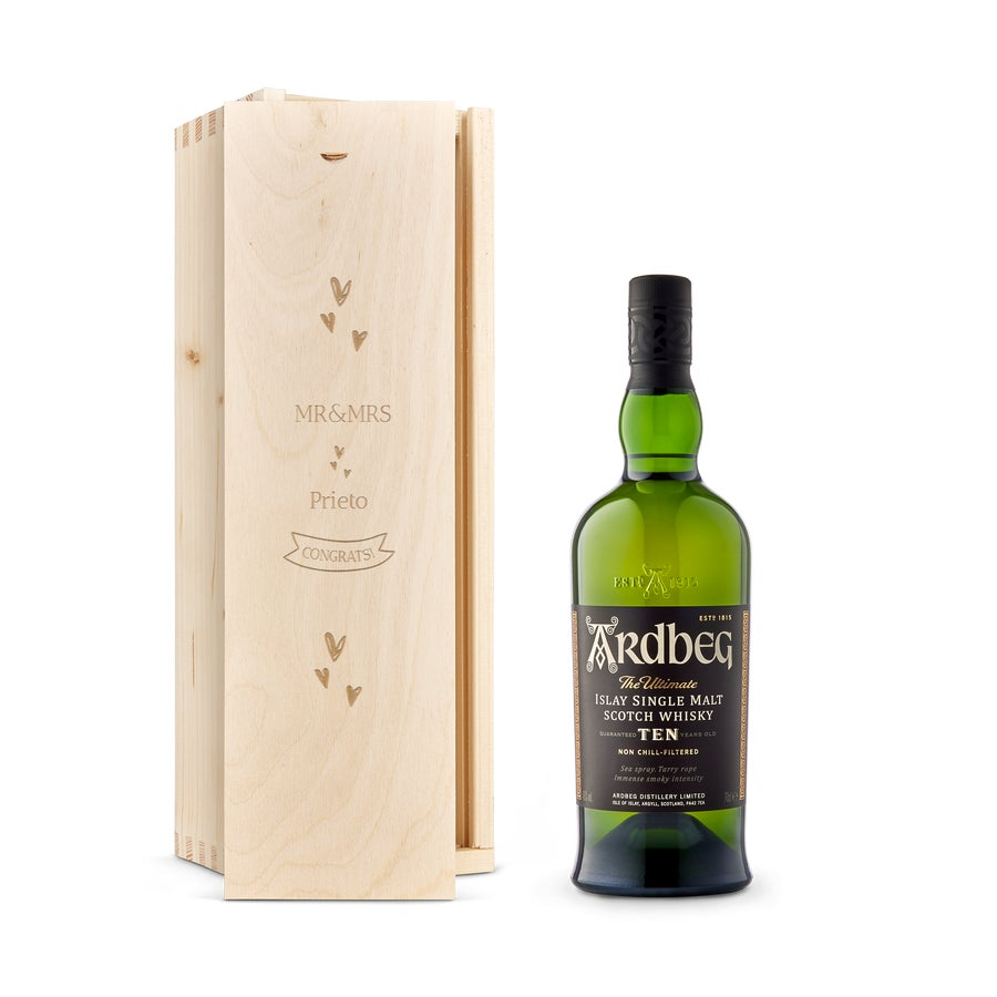 Whisky en caja grabada - Ardberg 10 Años