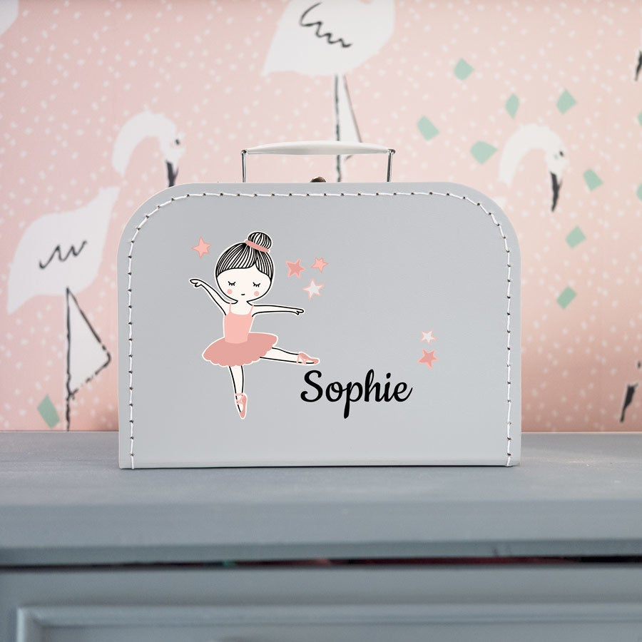 Decorative children's suitcase - Grey - Medium
