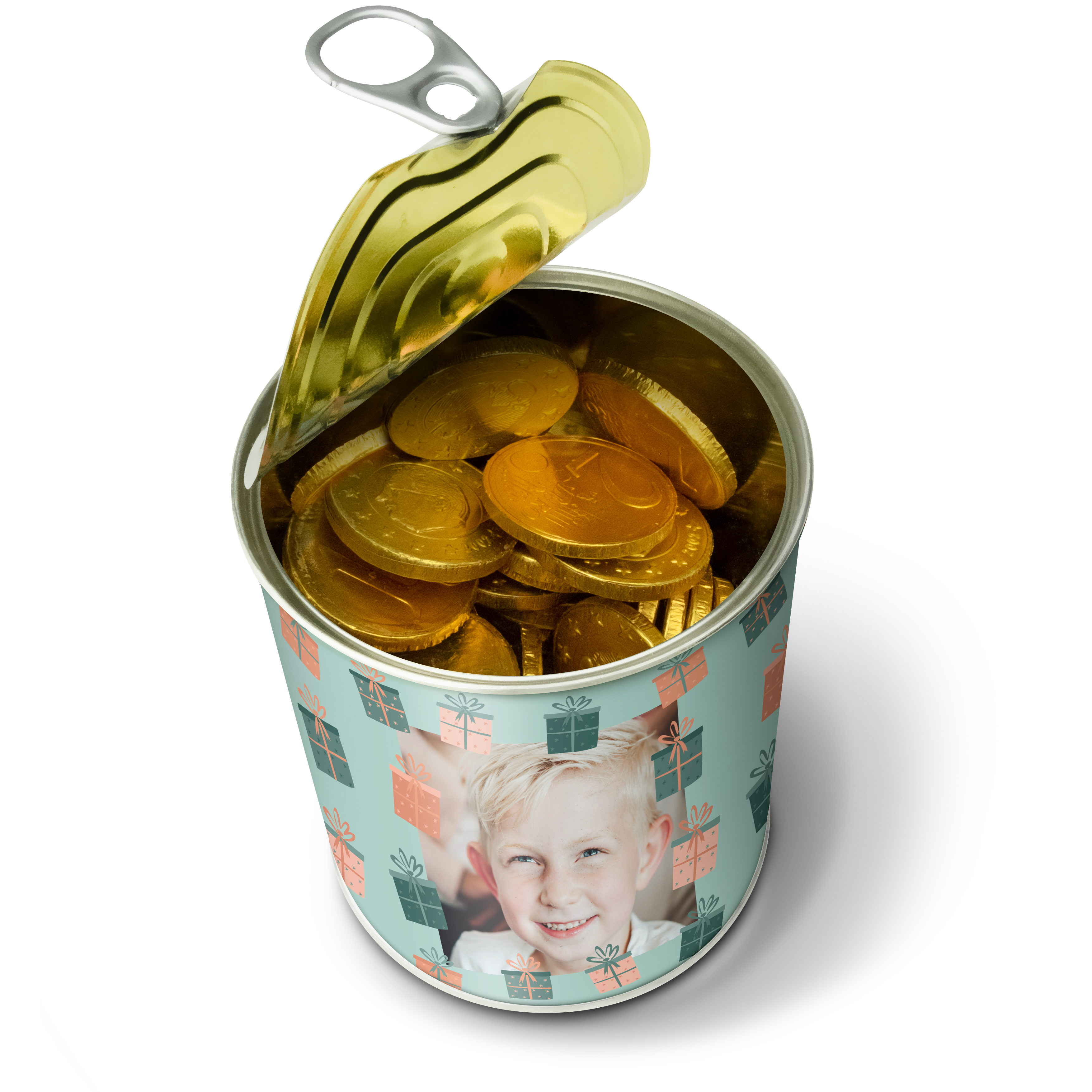 Snoepblik bedrukken - Chocolade munten