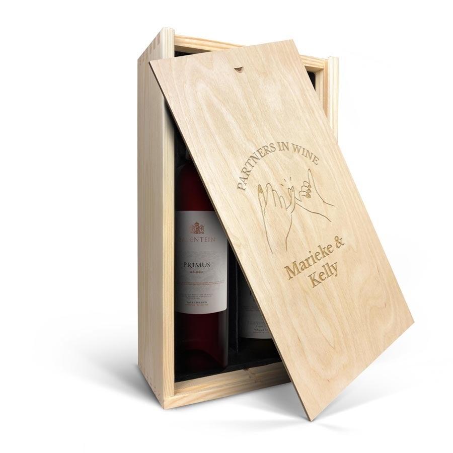 Wijnpakket in gegraveerde kist - Salentein Primus Malbec en Chardonnay