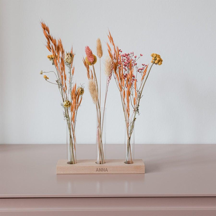 Tørrede blomster – 3 vaser – personlig holder i træ