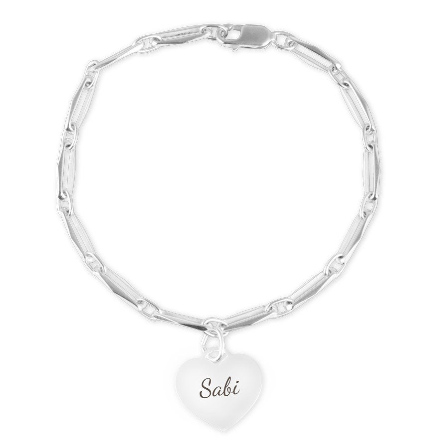 Engraved silver charm bracelet - Heart