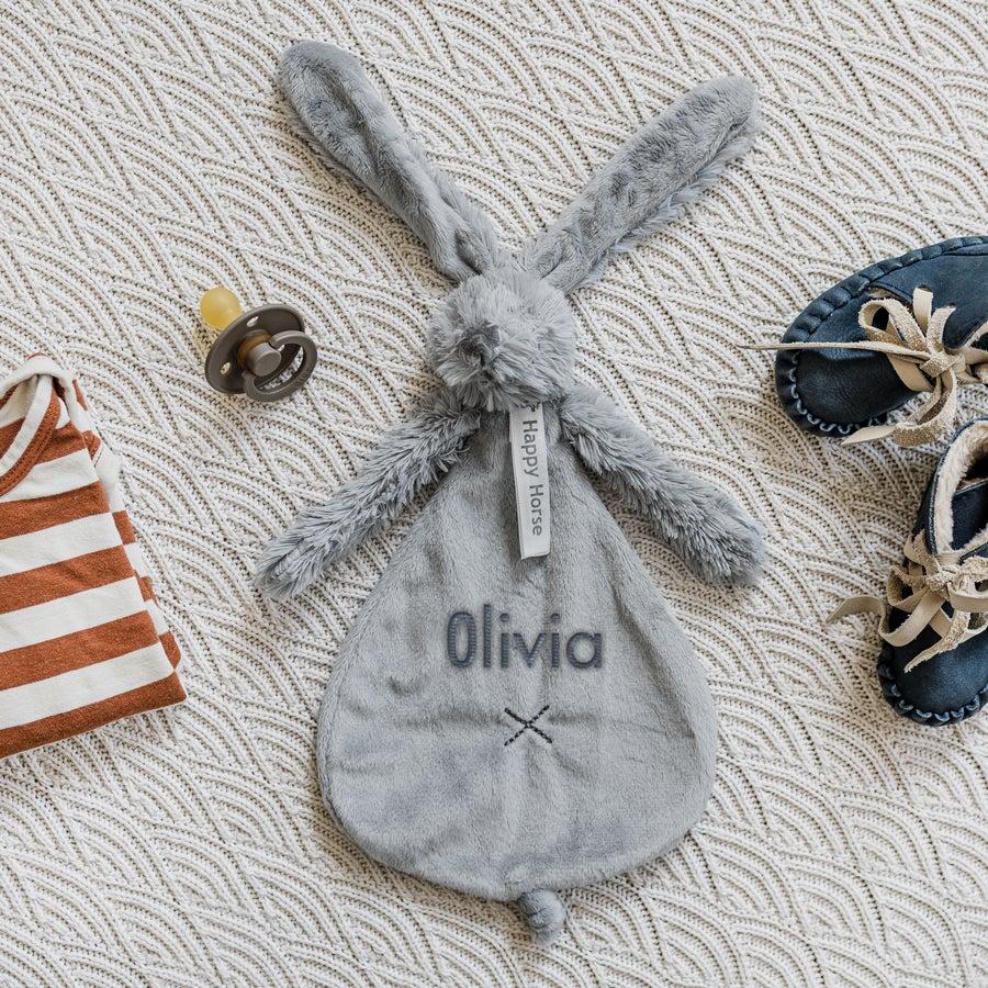 DouDou personalizado para bebê - coelho Richie - Cinzento