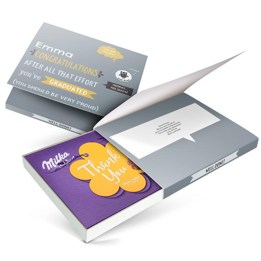 Csokoládé doboz - I love Milka - Ballagás- Virág 110 gramm